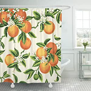 Emvency Shower Curtain Yellow Blossom with Orange Fruits Flowers and Leaves on Light Green Vintage Botanic Waterproof Polyester Fabric 72 x 72 inches Set with Hooks
