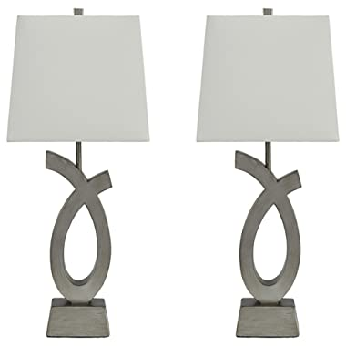 Ashley Furniture Signature Design - Amayeta Table Lamps - Set of 2 - Artistic Base -  Silver Finish