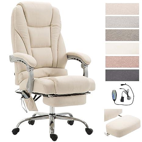 Poltrona Ufficio Massaggio.Clp Sedia Da Ufficio Massaggiante Pacific Poltrona Relax Con Poggiapiedi Estraibile Altezza Regolabile In Tessuto Ergonomica Girevole Con Ruote