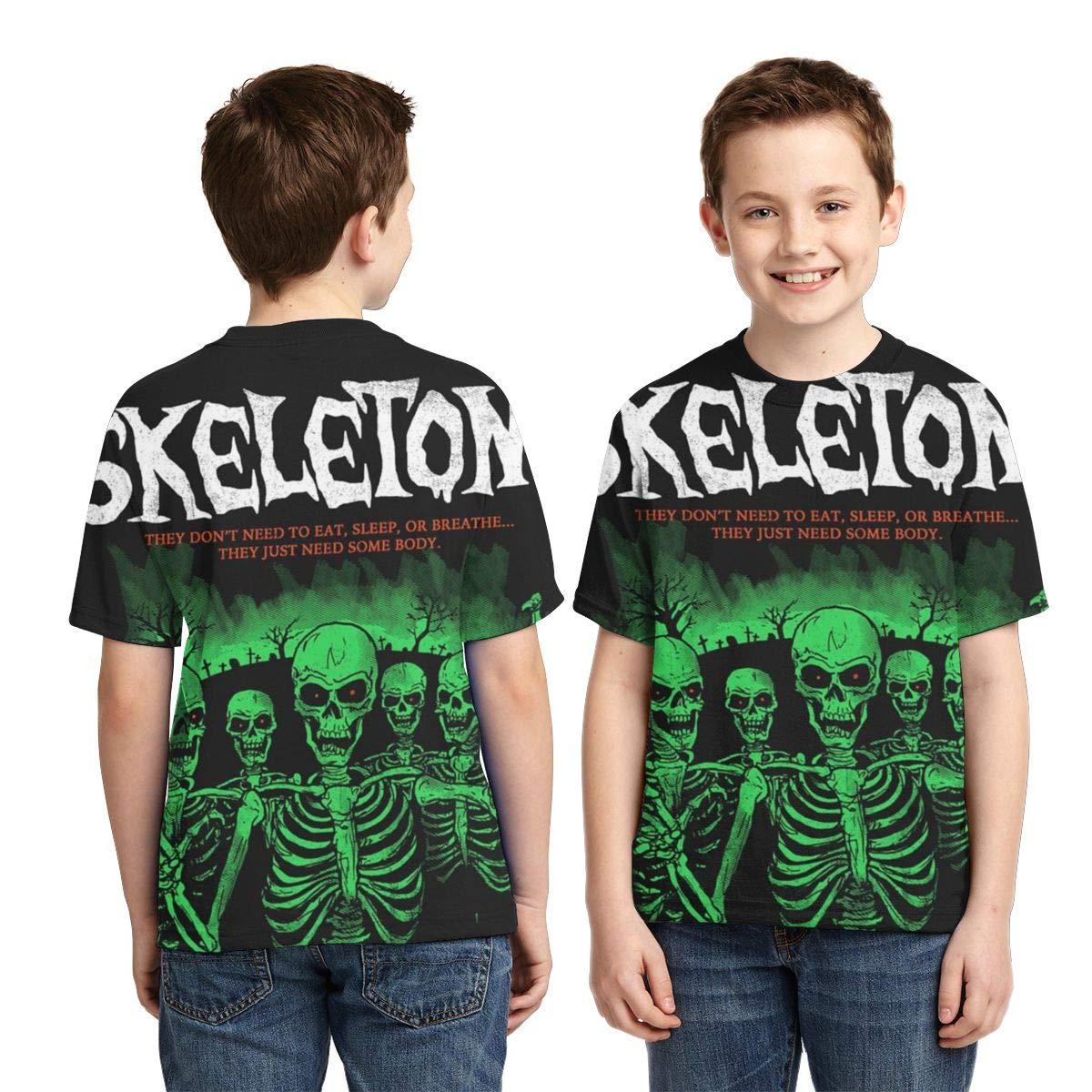 Boys Short Sleeve Green Skeletons Red Eyes Kids Children 3D T Shirts Teenagers Tee Tops