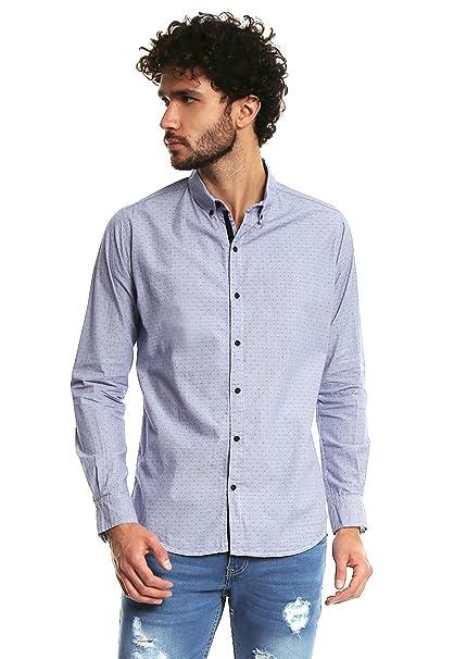 0f187a6cb1eab Rewind Camisa Azul Camisa para Hombre Azul Talla S  Amazon.com.mx ...