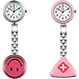 Lancardo 2 Pcs Cute Smile Face Hygienic Protection Pendant Pocket Quartz Nurse Watch (Pink)