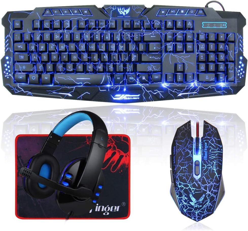 114-key Computer Illuminated Keyboard Wired Backlit Gaming Keyboard Universal Blue Switch USB Wired Keyboard