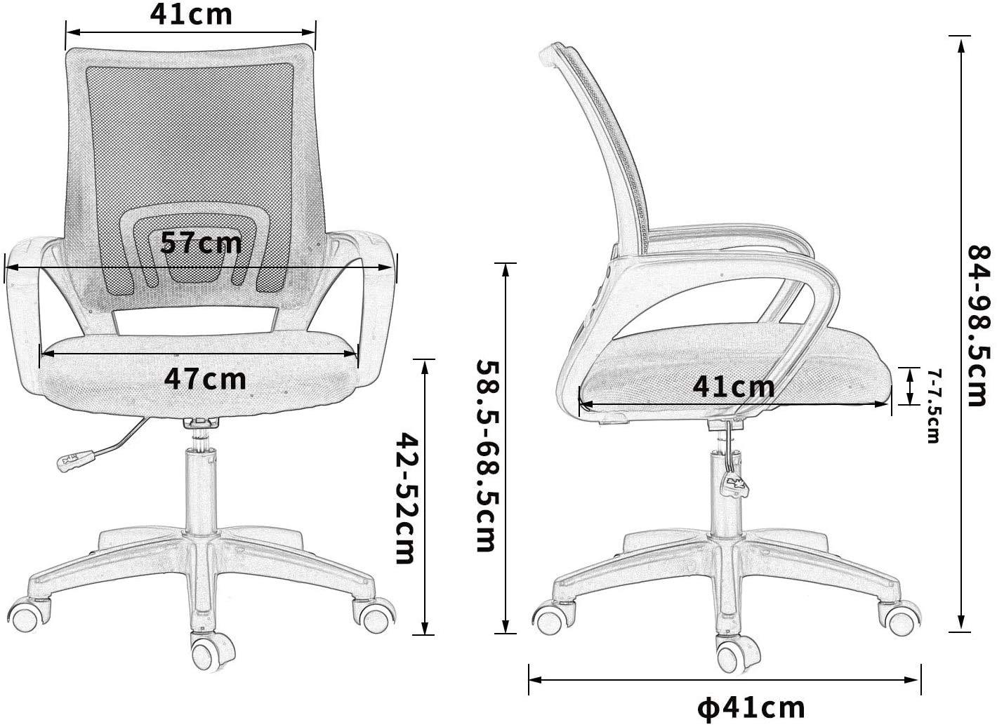 XJIANQI kontorsstolar, nät dator kontorsstol mitt på baksidan svängbar skrivbordsstol med höjdjustering, armstöd och ergonomiskt ryggstöd, svart ram röd Black Frame Green