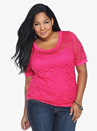 d396b20ff5 Pink Lace Top at Amazon Women s Clothing store  Fashion T Shirts