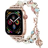 TILON for Apple Watch Band 38mm/40mm 42mm/44mm Series 5 4 3 2 1, Adjustable Wristband Handmade Night Luminous Pearl iWatch Bracelet with Essential Oil/Perfume Storage Pendant for Women/Girls