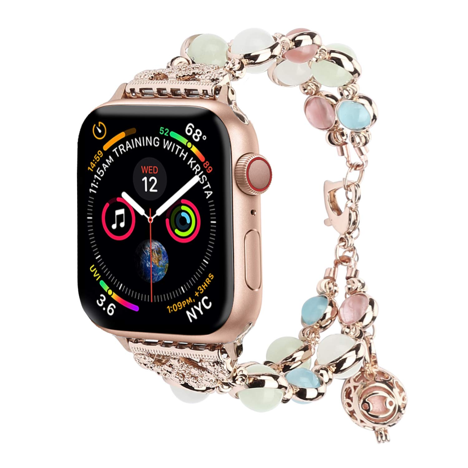 TILON for Apple Watch Band 38mm 40mm Series 4/3/2/1, Adjustable Wristband Handmade Night Luminous Pearl iWatch Bracelet with Essential Oil/Perfume Storage Pendant for Women/Girls(Rose Gold)