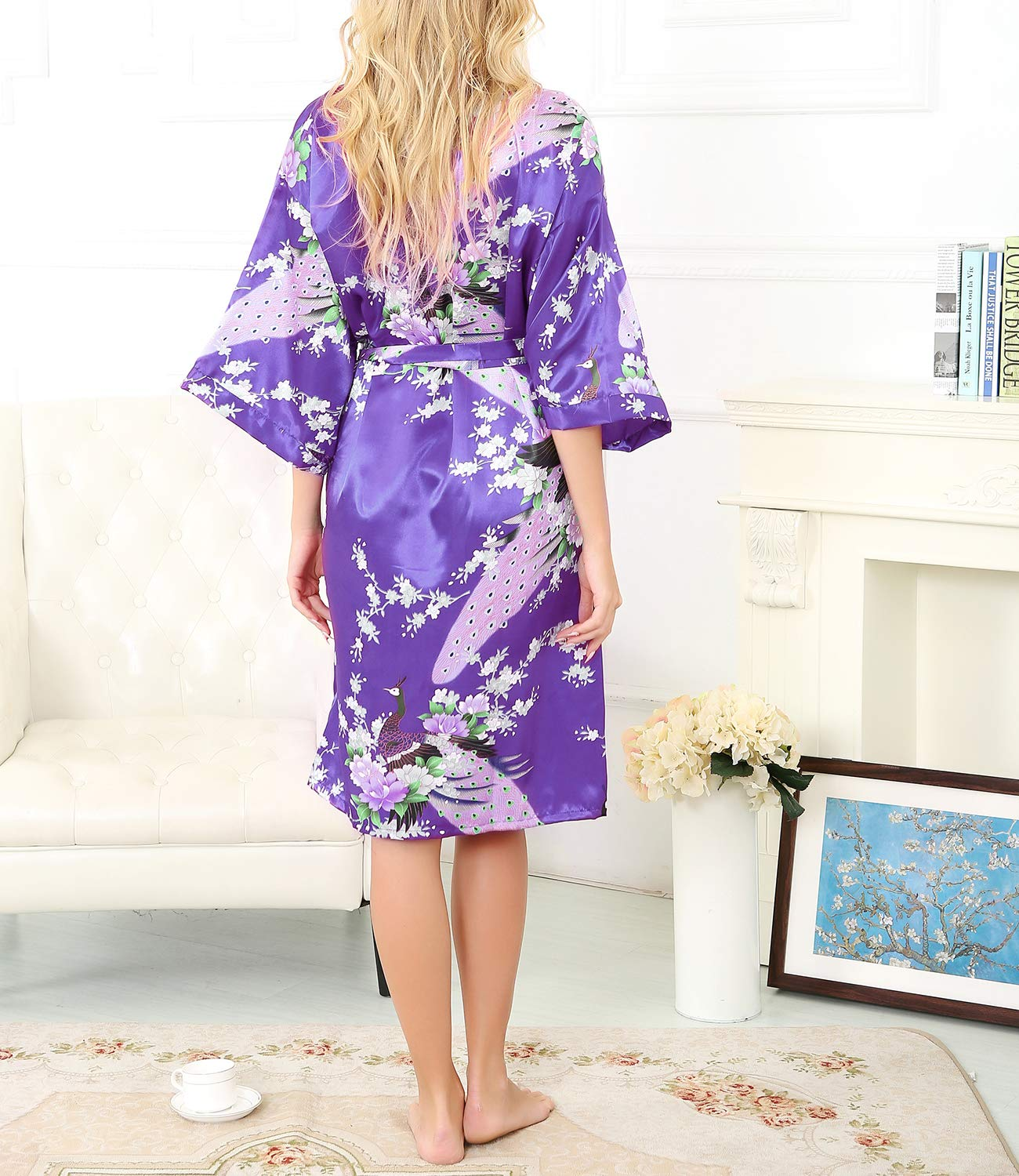 La Dearchuu Summer Dressing Gowns For Women Satin Kimono Robes For