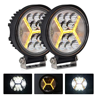 2PCS Round LED Pods Driving Lights Bar with Amber DRL Light - 117W 12000LM Flood Spot Combo Beam Working Light Pod Off Road for Trucks,SUV,Hunters,Jeep,Boat etc.: Automotive