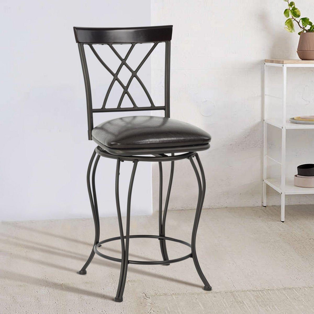 FurnitureR 24'' Circles-Back Swivel Bar stool Counter Height Bar Chair by FurnitureR (Image #2)