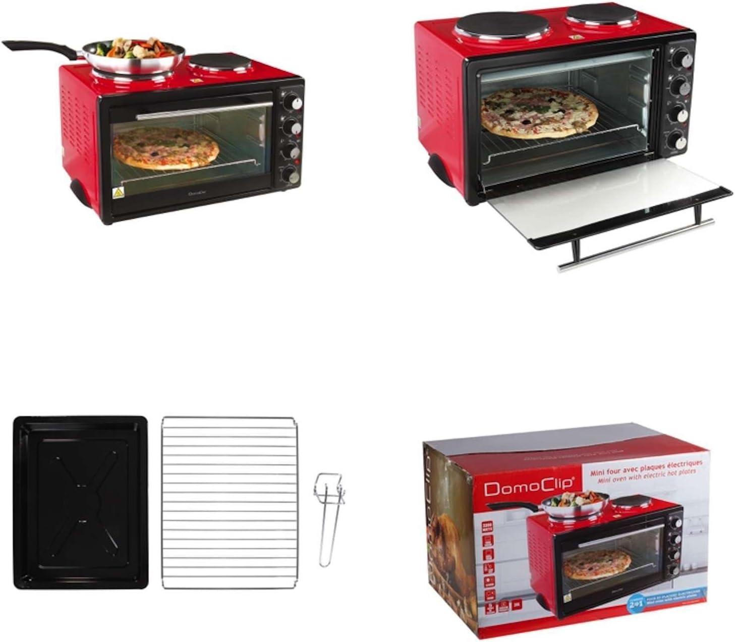 Mini horno con Cocción 3300 W Mini Cocina hobs Rojo ...
