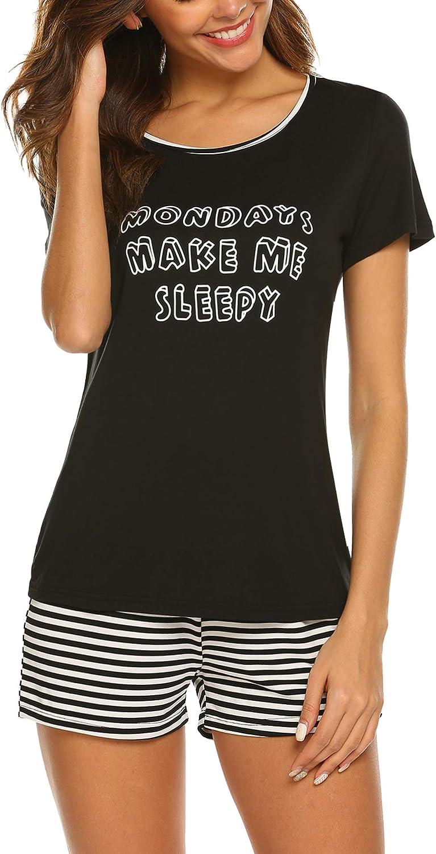 Balancora Damen Schlafanzug Kurz Sommer Pyjama Nachtw/äsche Kurzarm Rund Ausschnitt Sleepshirt Zweiteiliger S-XXL