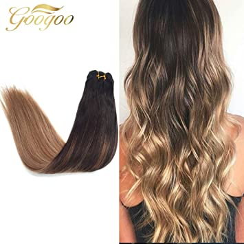 Amazon googoo ombre colored hair extensions brown with googoo ombre colored hair extensions brown with blonde human hair bundle 100g seamless balayage sew in pmusecretfo Choice Image