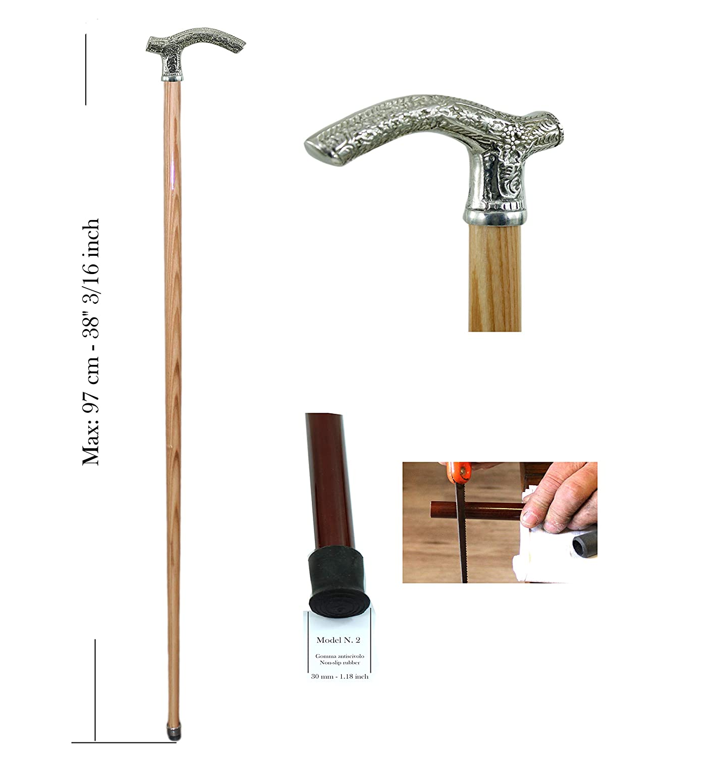 Walking canes and stick Derby Libery pewter beech wood swan 38 for the elderly Cavagnini made in Italy classy model tailor-made for you