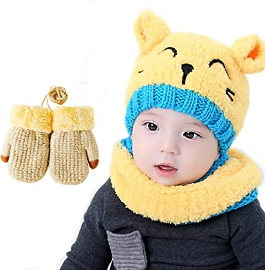 Kids Toddler Baby Boy Girl Hats Winter Warm Hats With Scarf Cartoon Caps Fashion