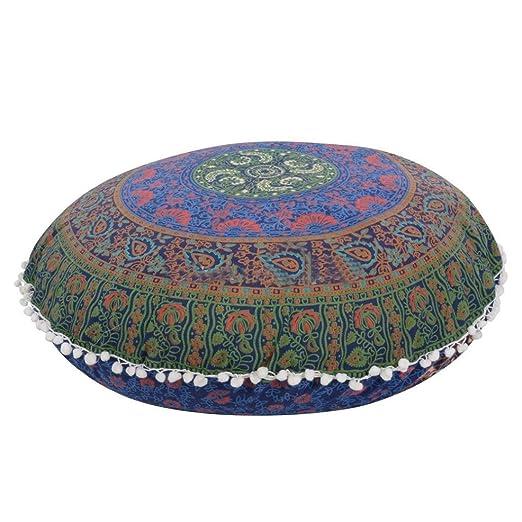 Hunpta Funda para cojín grande para suelo, con diseño indio de mandala, redonda, cobertor de cojín estilo bohemio.