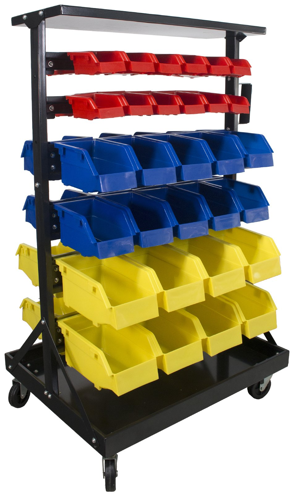 Erie Tools 60 Bin Parts Storage Rack with Locking Wheels for Shop Garage