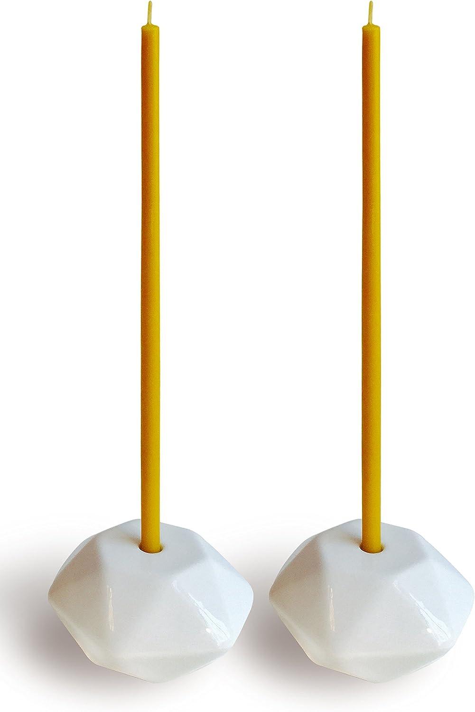 Votprof Set of 2 Small White Ceramic Candleholders Slim Taper Candles, Durable, Modern Design: Home & Kitchen
