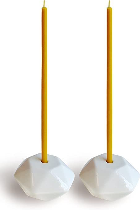 Set Of 2 Small White Ceramic Candleholders For Votprof Slim Taper Candles Durable Modern Design Kitchen Dining