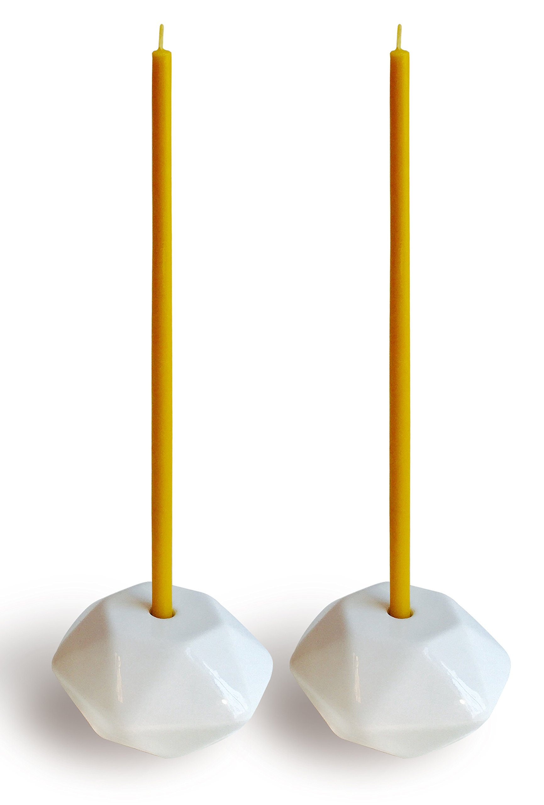 Set of 2 Small Ceramic Candleholders for Slim Candles