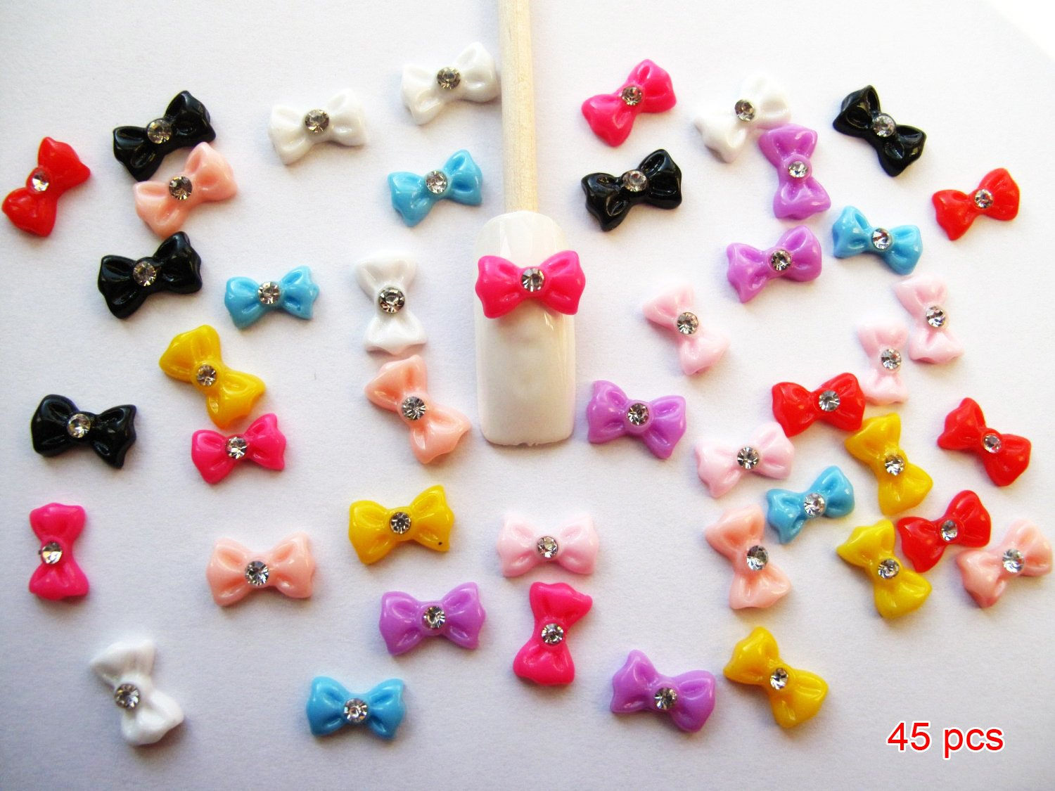 Amazon.com: Nail Art 3d 45 Pieces Mix Bow/Rhinestone for Nails ...