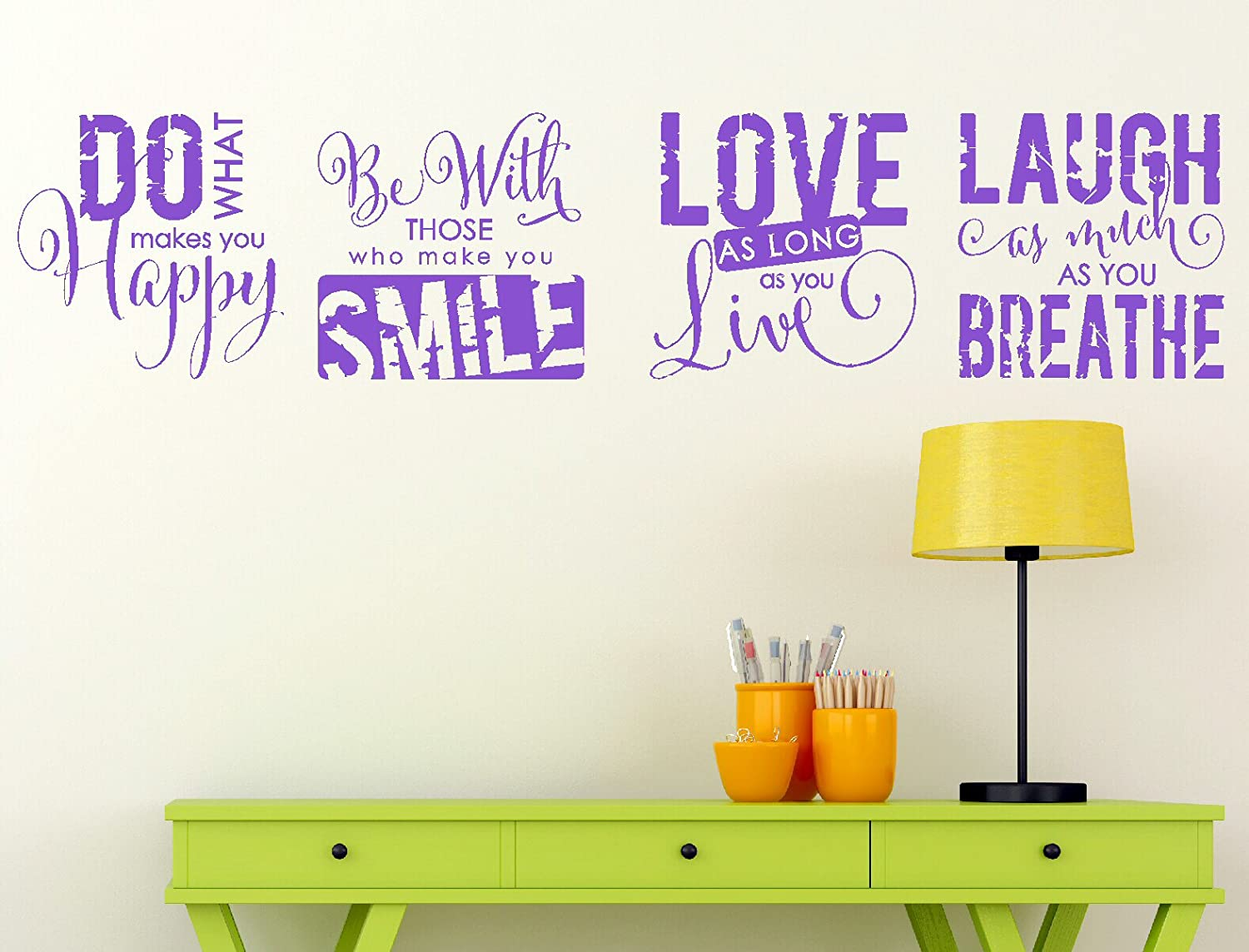 Wall Decor Plus More Inspirational Wall Sticker Quotes for Family Room Decor Vinyl Decal Set of 4 Purple Purple