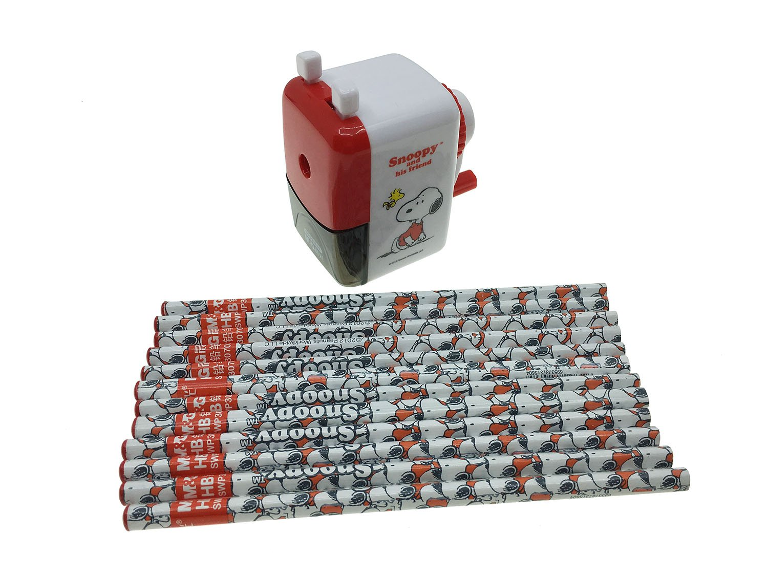 Snoopy Peanuts Character Pencil Sharpener and 12 pencil Student Office Stationery-Compact & Quiet Classroom Sharpener
