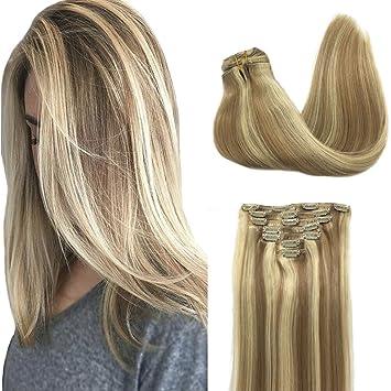 Amazon Com Googoo Hair Extensions Clip In Ombre Light Blonde