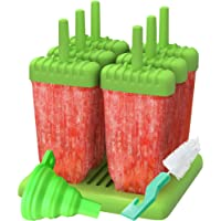 Set of 6 Reusable Popsicle Molds Ice Pop Molds Maker by Ozera, With Silicone Funnel & Cleaning Brush, Green