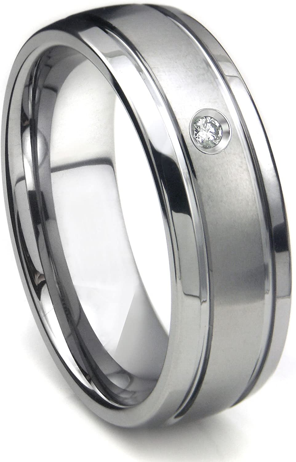 Sizes 8 to 13 Silver City Jewelry 7mm Tungsten Diamond Wedding Ring Domed Polished Finish for him and her Comfort fit