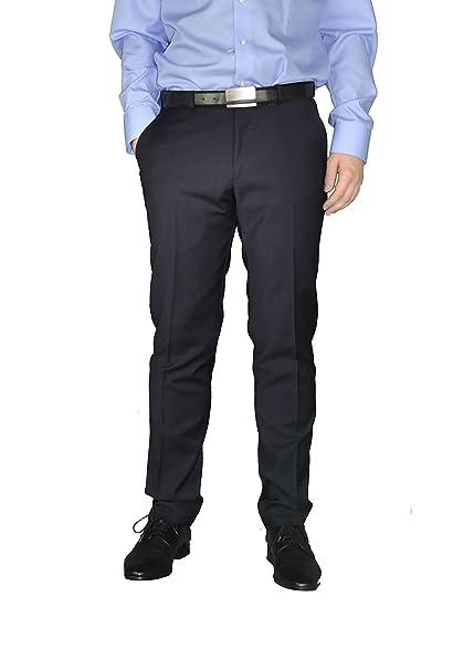 2ed5acfa86 Costruzioni in blu scuro pantaloni da uomo in lana vergine, marca ...