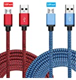 Micro USB Kabel Nylon, BeneStellar (2 Pack 3m) High Speed USB 2.0 A Male auf Micro B Synchronisations und Ladekabel für Android, Samsung, Huawei, HTC, Sony, Nexus, Xiaomi und mehr (Rot & Blau 3m* 2)