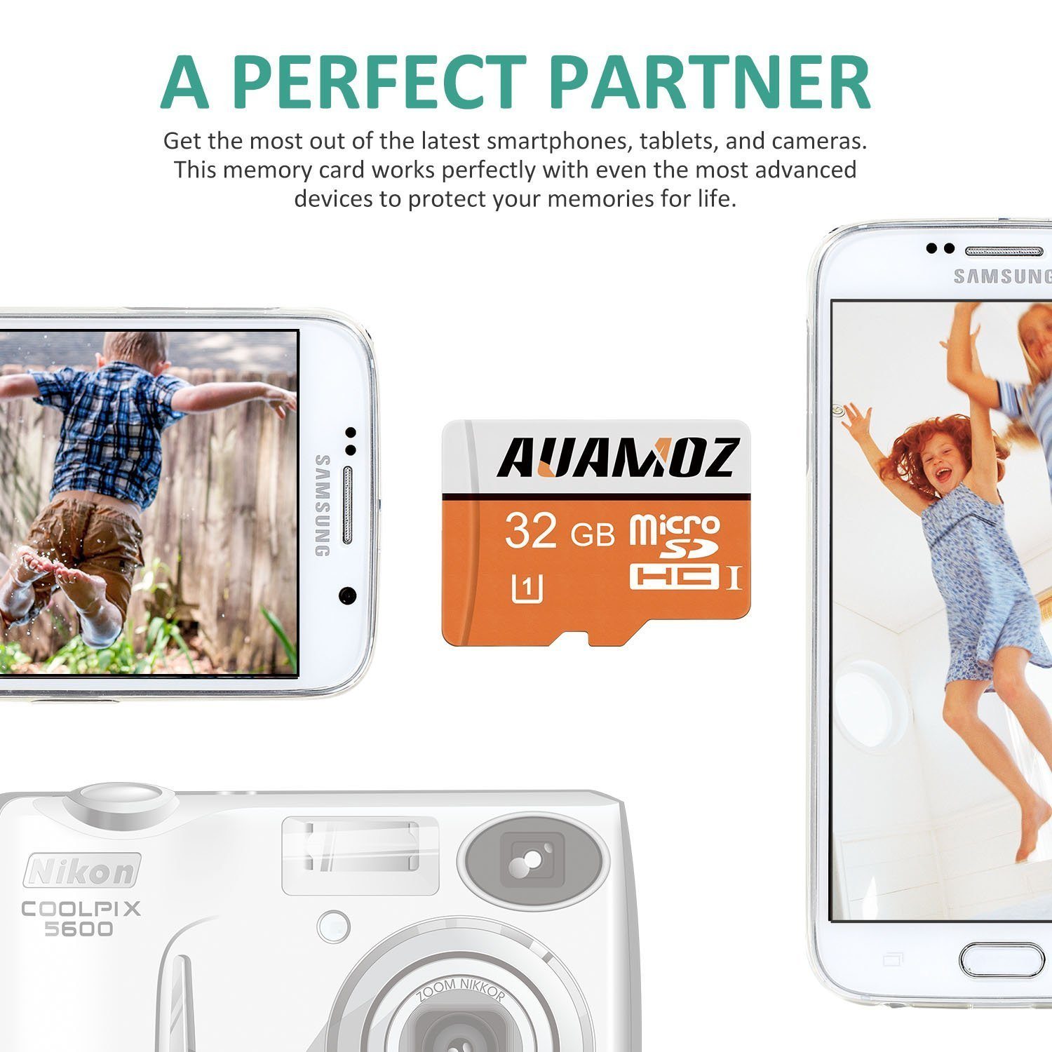 AUAMOZ Micro SDHC Class 10 UHS-I High Speed Memory Card for Phone,Tablet and PCs Green//White with Adapter Micro SD Card 32GB