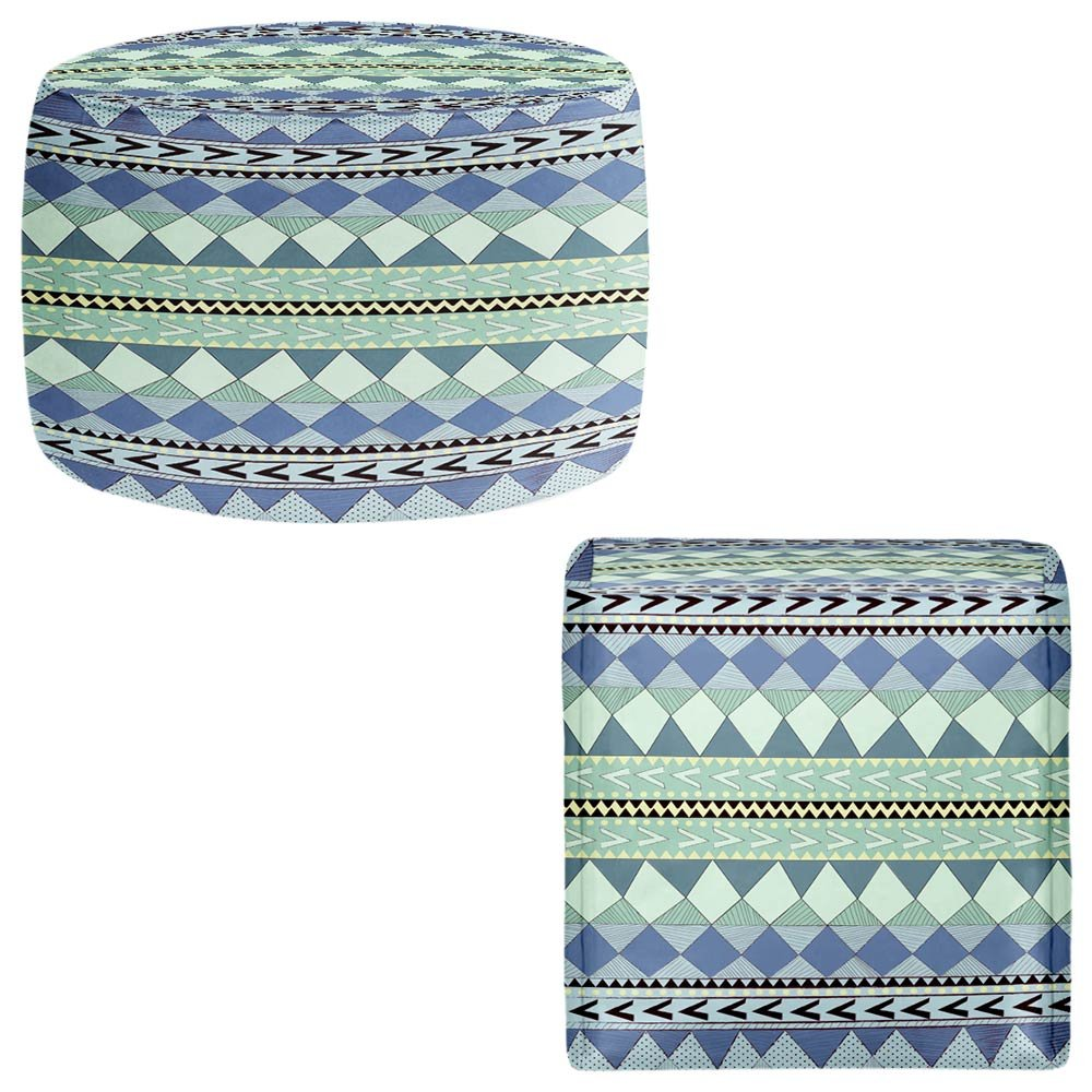 DiaNoche Designs Foot Stools Poufs Chairs Round or Square from by Nika Martinez - Purple Native Forest by DiaNoche Designs
