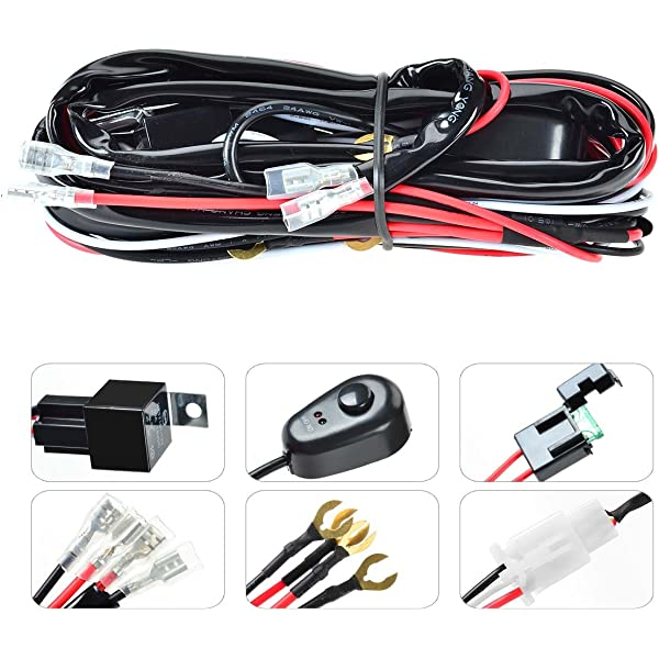 2 Lead 6.5ft KAWELL Wiring Harness Kit With Fuse 40 Amp Power Relay ON//OFF Switch for Offroad Driving light LED work light fog lights
