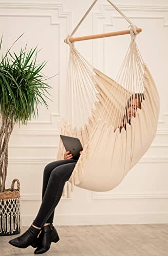 Mauv Macrame Hanging Chair – Bohemian Hammock – Outdoor Indoor Swing – Sturdy – Boho Decor – Personal Pocket – Cushions Included – Home Porch Seat – Beige
