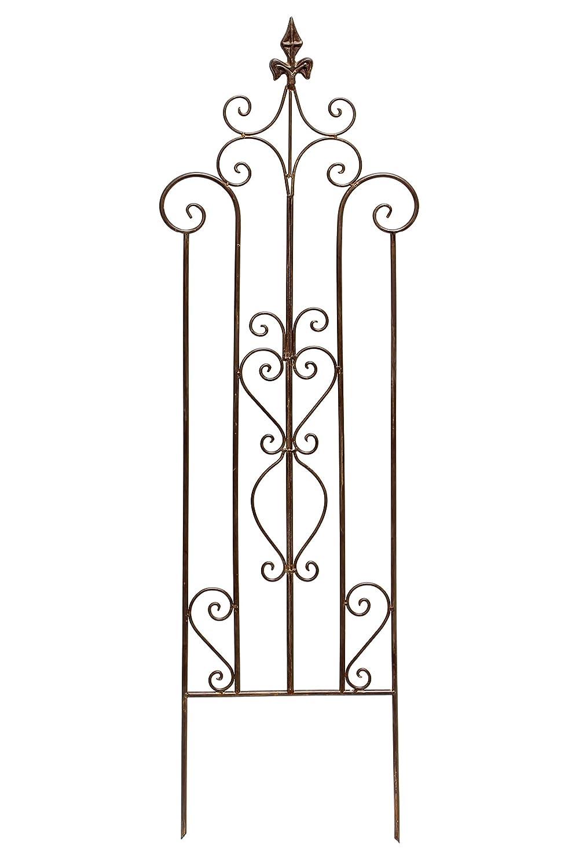 """Rankhilfe """"Schwertlilie"""" Metall, dunkelbraun lackiert in trendiger Rostoptik, aufwändig gearbeitet mit Rankenmuster 36 x 117 cm Frank 229213"""