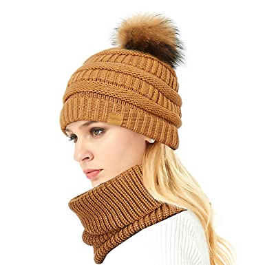 IKEPOD Knit Hat Infinity Scarf Set - Women Merino Wool Beanie Scarves with  Raccoon Fur Pom c2606005399