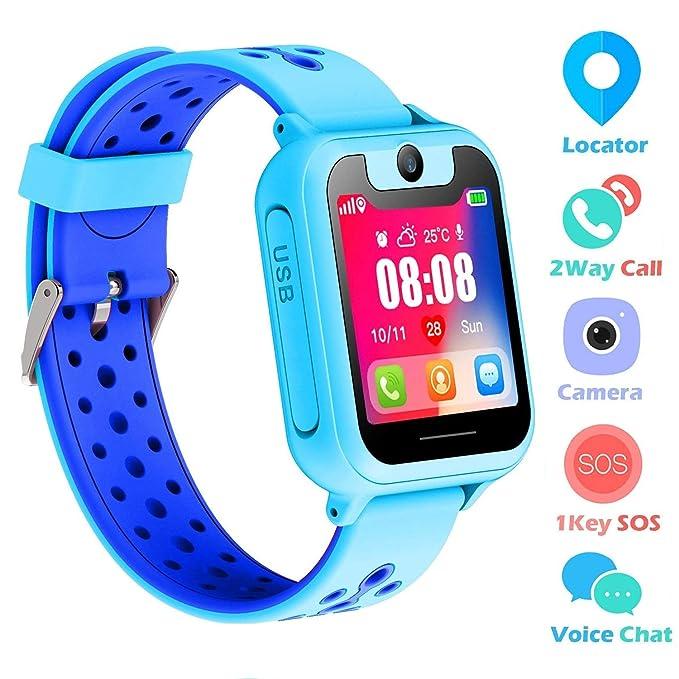 "Kids Smart Watch Phone, SZBXD 1.44"" GPS Tracker Smartwatch Touch Camera Games Flashlight SOS"