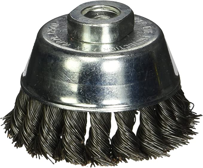 Firepower 1423-3158 Wire Cup Type Crimped Carbon Steel Wire Brush with 4-Inch Cup Diameter and 5//8-Inch NC Threaded Arbor