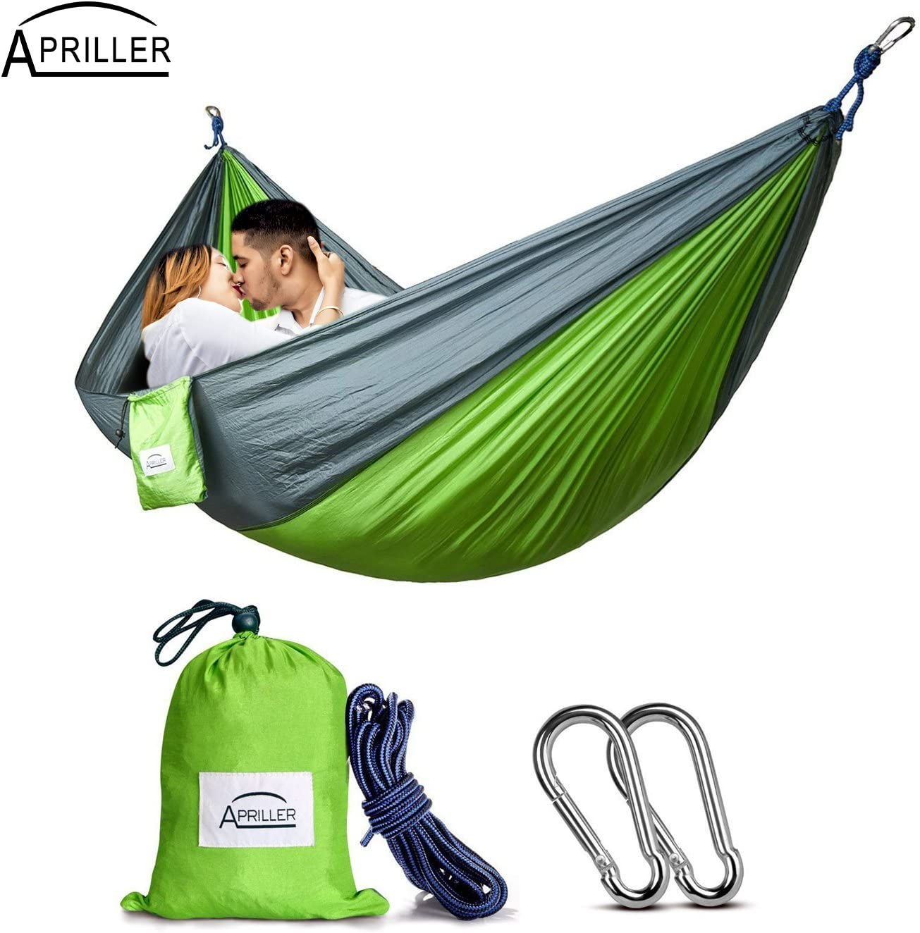 Apriller Double Portable Camping Hammock - 600 lb Weight Capacity - Green