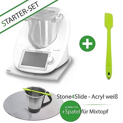 Stone 4slide Starter Set: Thermomix Deslizante Tabla gleiter acrílico de Cristal White + Mix Olla