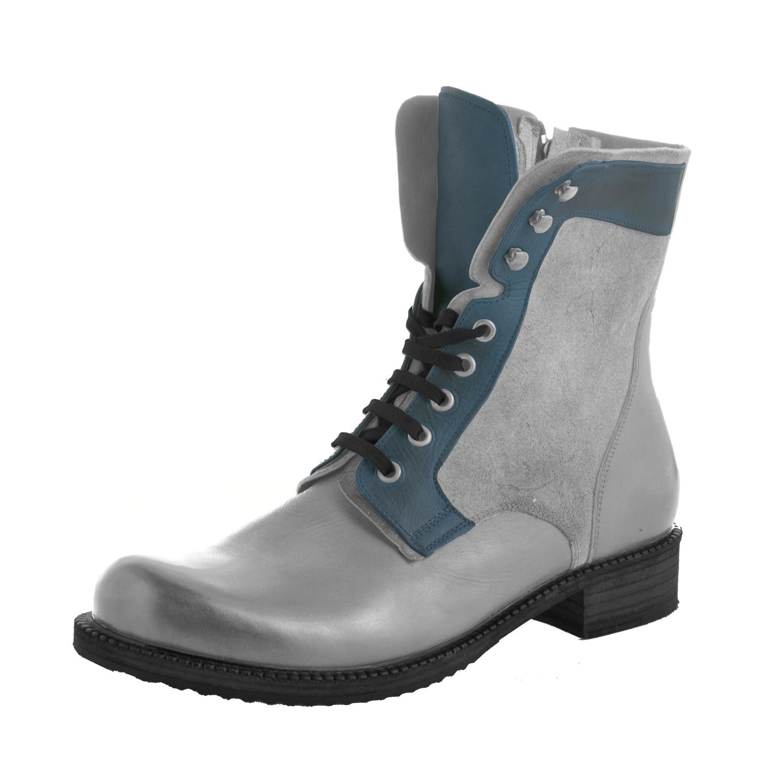 Genuine Leather and Suede High Top Men's Boots Gray/Navy - Badlands By Kristoff