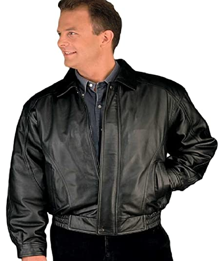 Reed Men's American Style Bomber Genuine Leather Jacket at Amazon ...