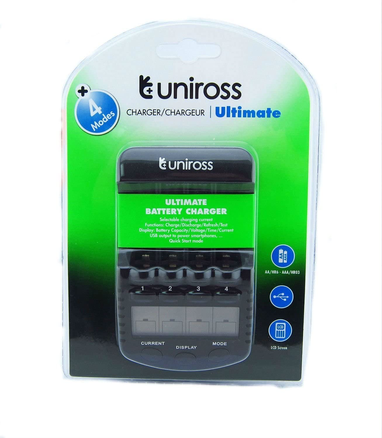 UNiROSS LCD 1-2 HOUR AA//AAA  Battery CHARGER /& 8 x AA 2800 mAh Rechargeable Batt