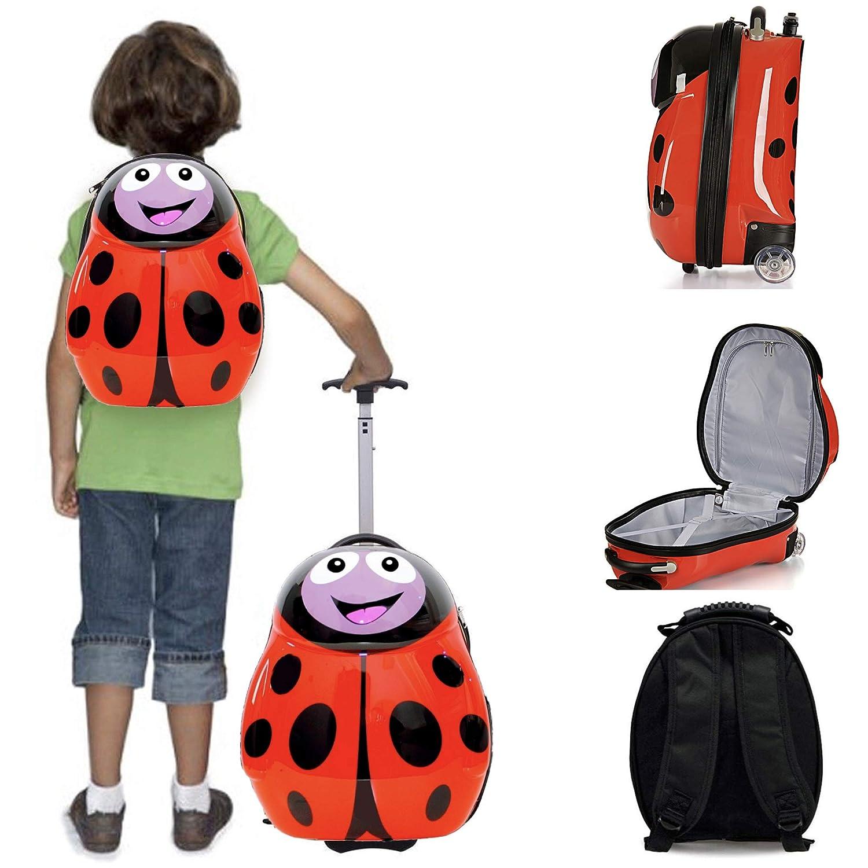 Kompakte 2-tlg Kindergepäck, Reisekoffer und Kinderrucksack, Für Urlaub Handgepäck & Rucksack - Ladybug Kinder Trolley Marienkäfer MP-Cologne
