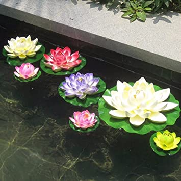 7 Unids Flores de loto artificiales flotantes multicolor diseño en estanques, peceras, acuarios.f fuentes cristal para el salon con velas flotantes de OPEN ...