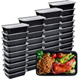 Meal Prep Containers, 50 Pack Bento Boxes Disposable Plastic Bento Insulated Lunch Box Reusable Healthy Food Storage…