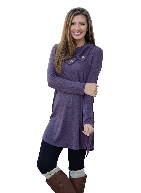 f043afb4366 MIXMAX Women Lapel Neck Long Sleeve Loose Dress Sides Slit Shirt Dress at  Amazon Women s Clothing store