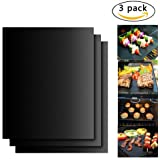 BBQ Grill Mats,Urgod set of 3 Non-stick Barbecue Accessories Grilling & Baking Mat,Reusable and Easy to Clean - Works on Gas, Charcoal, Electric Grill and More - 15.75 x 13 Inch